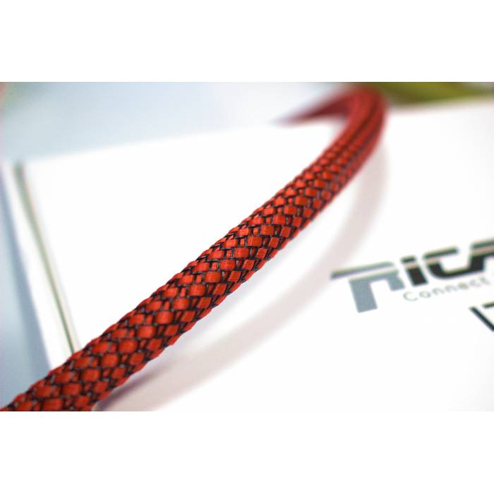 Ricable RB08 - Braided sheath by meter - Red/Black for cable 4-10 mm. Total Coverage