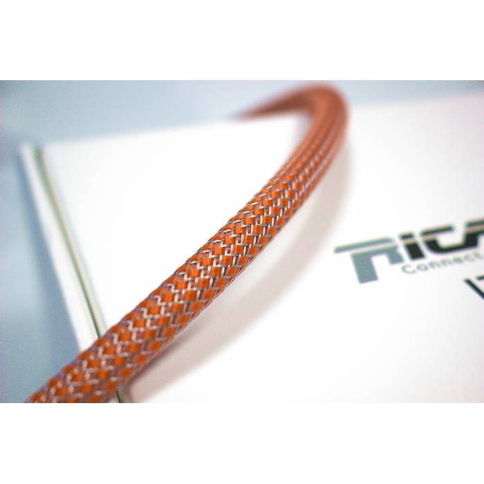 Ricable OG08 - Braided sheath by meter - Orange/Grey for cable 4-10 mm. Total Coverage
