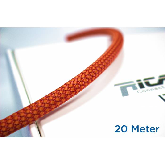 Ricable OR08/20 - Braided sheath 20 meters - Orange/Red for cable 4-10 mm. Total Coverage