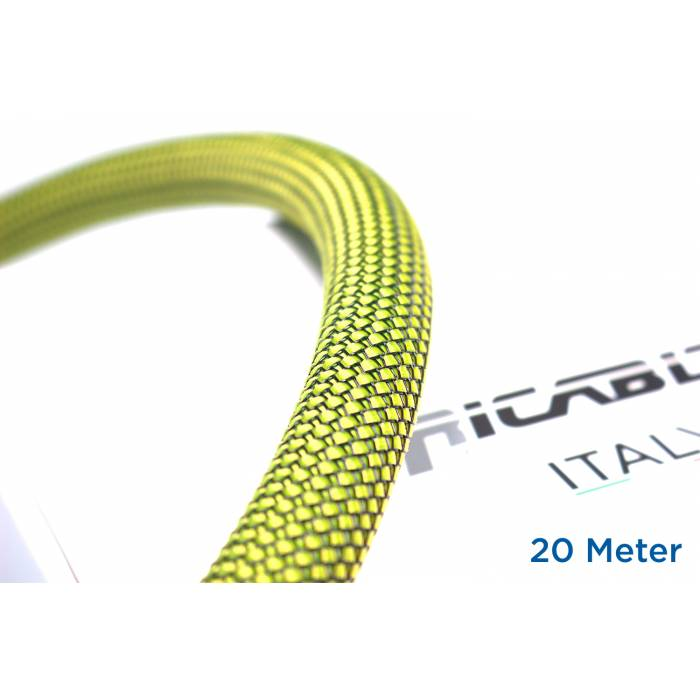 Ricable YB20/20 - Braided sheath 20 meters - Yellow/Black for cable 16-22 mm. Total Coverage